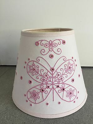 Pottery Barn Kids PBK Lamp Shade In Fabric w/ Butterflies In Pastel/Light Pink