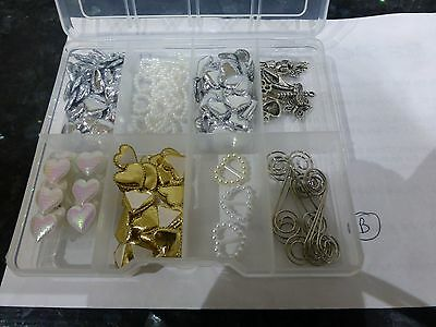 Selection of Heart Embellishments and Charms Incl Storage Box LOT B