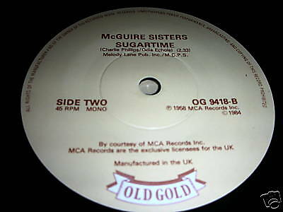McGUIRE SISTERS - SUGARTIME / MAY YOU ALWAYS