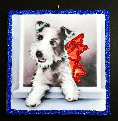 ~ Sweet Wired Haired Fox Terrier ~ glittered wood Xmas Ornament repro vtg img