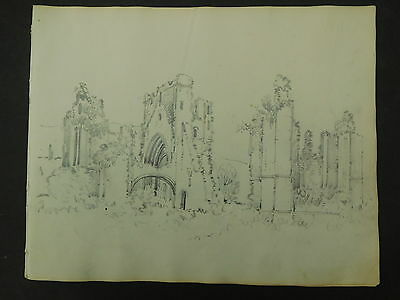 Antique Pencil Drawing Ruined Abbey,  c.1830