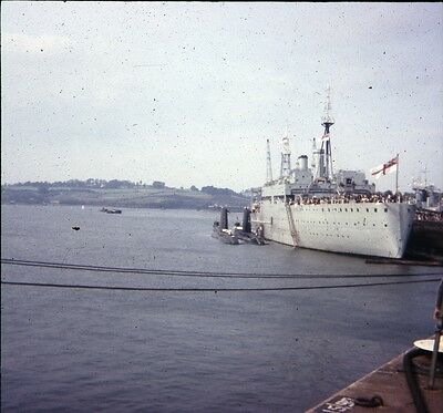 25Mm Colour Slide Royal Navy Support Ship With 2 Submarines Portsmouth Harbour
