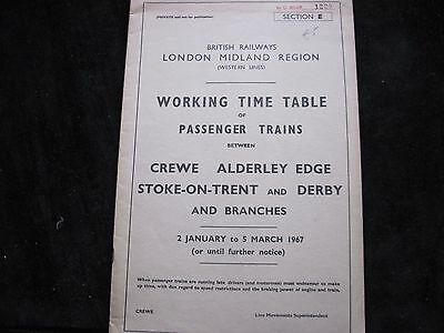 Br Lmr Working Timetable  Pass Crewe   Alderley Edge Stoke Derby Sect E 1967
