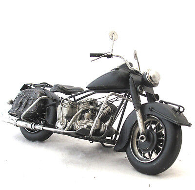 Recycled Metal Art Motorcycle Sculpture Rustic Handcrafted Mexico 10 inches long