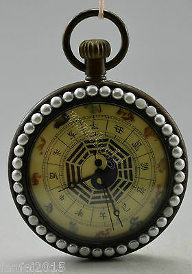 Collectible Decorate Old Handwork Copper China 12 Zodiac Mechanical Pocket Watch
