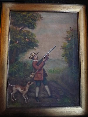Antique Original Hunter Shooting with Dog Oil Painting on Canvas Board - Framed