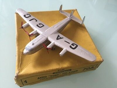 "DINKY TOYS No 70A  BOXED VINTAGE AVRO ""YORK "" AIR LINER  1954 VGC"