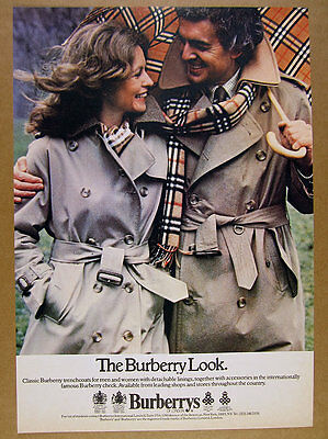 1979 Burberry Trenchcoats Check Scarf & Umbrella photo vintage print Ad