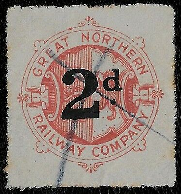 + 1900 Great Britain 2d Great Northern Railway Letter Stamp Parcels Revenue Fee