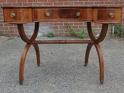 Edwardian antique solid flame mahogany kidney shaped 3 drawer writing table desk