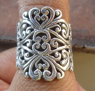 925 Sterling Silver-LH110-Balinese Handcrafted Ring Filigree Size 7