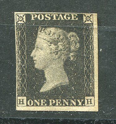 GB  1840 QV 1d black ( HH) Plate 1A. MINT NG. 4 margins. VERY FINE.