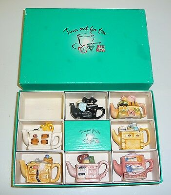 "Set of  RED ROSE ""Time Out For Tea""  Miniature Ceramic TEAPOTS C/W Box 1996"
