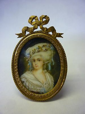 Victorian Ormalu Framed Miniture Signed Oil Painting