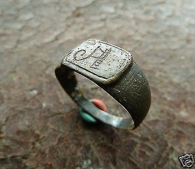 Post-medieval bronze ring with initials (333).