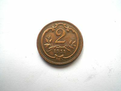 EARLY -2 HELLER COIN FROM AUSTRIA DATED 1911 high grade