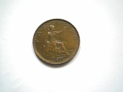 Early -George V-  1 Farthing Coin From The Uk-Dated 1927-Nice