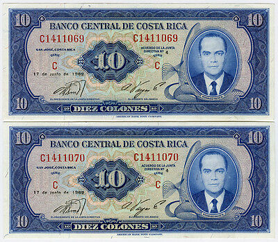 COSTA RICA 1969 ISSUE 10 COLONES 2 CONSECUTIVE NUMBERS NOTES UNC.PICK#230a.
