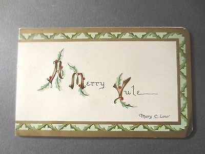 Antique Christmas Card ERNEST NISTER Merry Yule Mary Low Verse E P Dutton NY