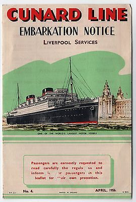 1956 CUNARD LINE Embarkation Notice RMS BRITTANIC Saxonia MEDIA Ivernia PARTHIA