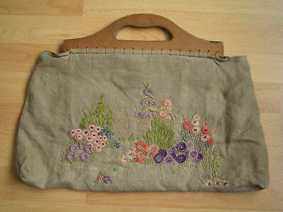 Beautifully Hand Embroidered Vintage Knitting Bag - Wooden Handles c.1940s