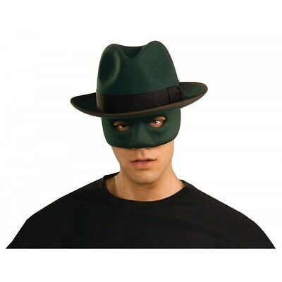 Green Hornet Costume Hat and Mask Adult Superhero Halloween Fancy Dress