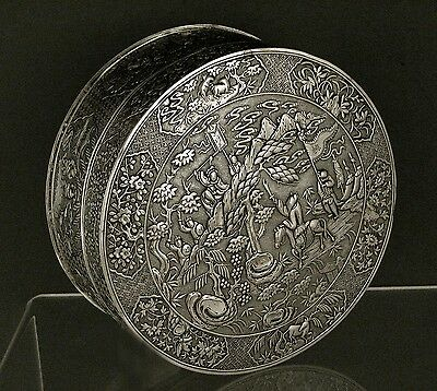 Chinese Export Silver Box        WARRIORS            28OZ