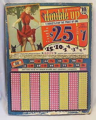 Old Antique DOUBLE UP Pin Up Girl & Dogs PUNCH BOARD GAME Casino Gambling UNUSED