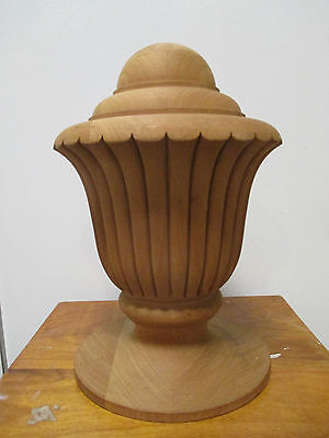 "LARGE Architectural fluted Wood POST FINIAL 10"" TALL 7"" diameter base dowel mt"
