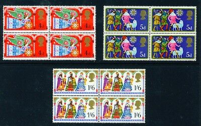 1969 Christmas Set Of 3 Sg812/814 In Blocks Of 4 U/mint