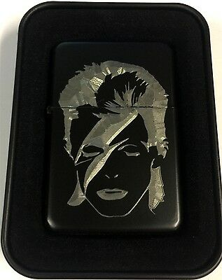 Ziggy Stardust David Bowie Black Engraved Cigarette Lighter LEN-0198