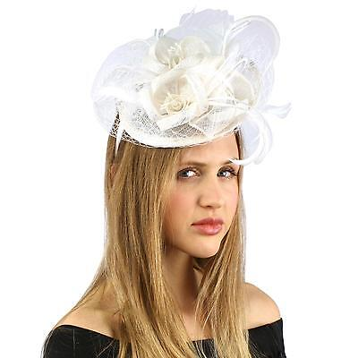 Fancy Sinamay Feathers Trio Floral Net Headband Fascinator Cocktail Hat White