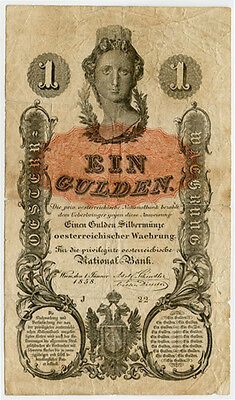 Austria 1858 Issue 1 Gulden Very Scarce Note F/vf.pick#a84.