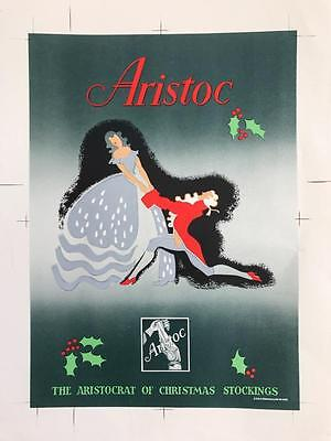 Rare 1940s Proof Packaging Advertising Label Aristoc Christmas Stockings