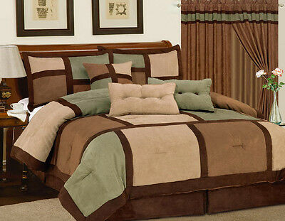 7PC Comforter Set Green Brown Micro Suede Patchwork Queen Size Bed in a Bag New