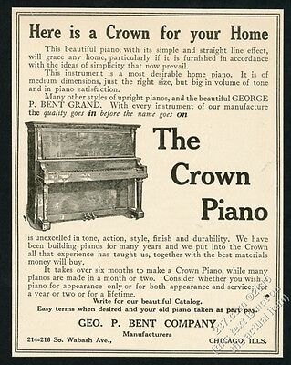 1912 George P Bent Crown upright piano illustrated vintage print ad