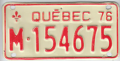 1976 Quebec Canada Motorcycle License Plate M - 154675 Moto Motocyclette Bike
