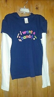 NEW Gymboree Girl Size 10 NavyBlue Top Shirt Tee NWT with Hood Long Sleeve