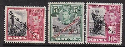 MALTA KGVI 1948 NEW CONSTITUTION 2/6d 5/- AND 10/- LIGHTLY HINGED MINT