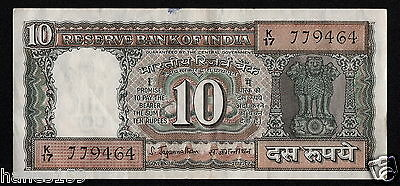 INDIA (P059a) 10 Rupees ND(1970) VF/VF+