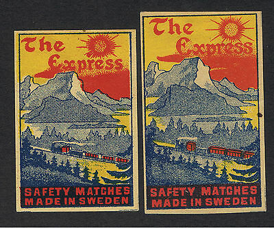 Matchbox labels. Sweden. Swedish. SIRIUS. THE EXPRESS. 2  BOXES.