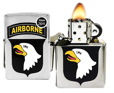 Zippo 29185 US Army 101st Airborne Eagle Brushed Chrome Windproof Lighter New