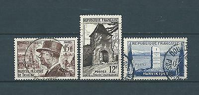 FRANCE - 1952 YT 920 à 922 - TIMBRES OBL. / USED