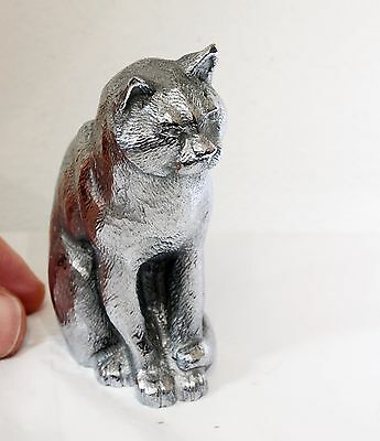 Vintage HEAVY Metal Cat Ornament - 9cm Height & 600g+ Made in England. Feline