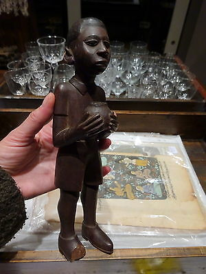 Antique Early 20th Century North African Carved Wood Boy Sculpture