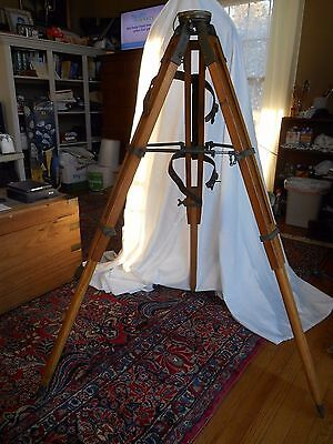 Antique Surveying Tripod Brass Fitted Leather Carrying Strap Leg Stabilizers