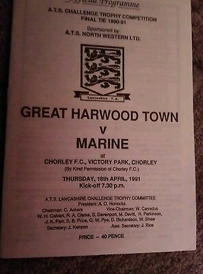 Great Harwood Town v Marine A.T.S. Challenge Trophy Final Programme 1990/91