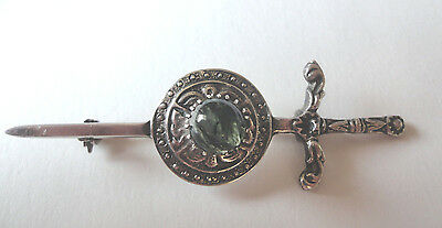 Antique Celtic Sword & Shield Green Agate Kilt Pin, Embossed  SS Hallmarked 3""