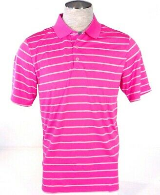 Adidas Golf PureMotion Pink & White Stripe Short Sleeve Polo Shirt Mens NWT