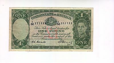 1949 Commonwealth of Australia Coombs/Watts £1 Note - Solid Number I58 - 111111